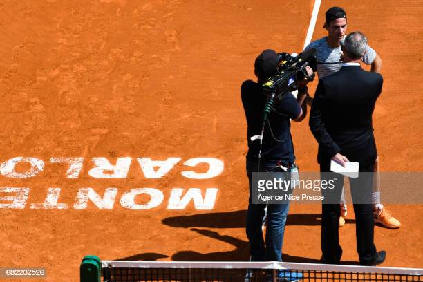 Adrian Mannarino of France is interview after his victory during the Monte Carlo Rolex Masters 2017 on April 18 2017 in Monaco Monaco