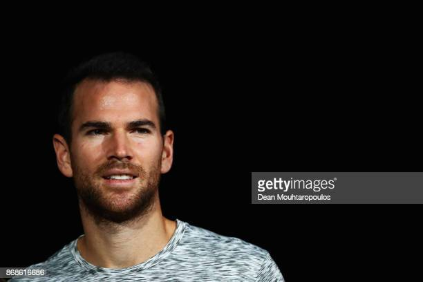 Adrian Mannarino of France looks on prior to his match against David Ferrer of Spain during Day 2 of the Rolex Paris Masters held at the AccorHotels...
