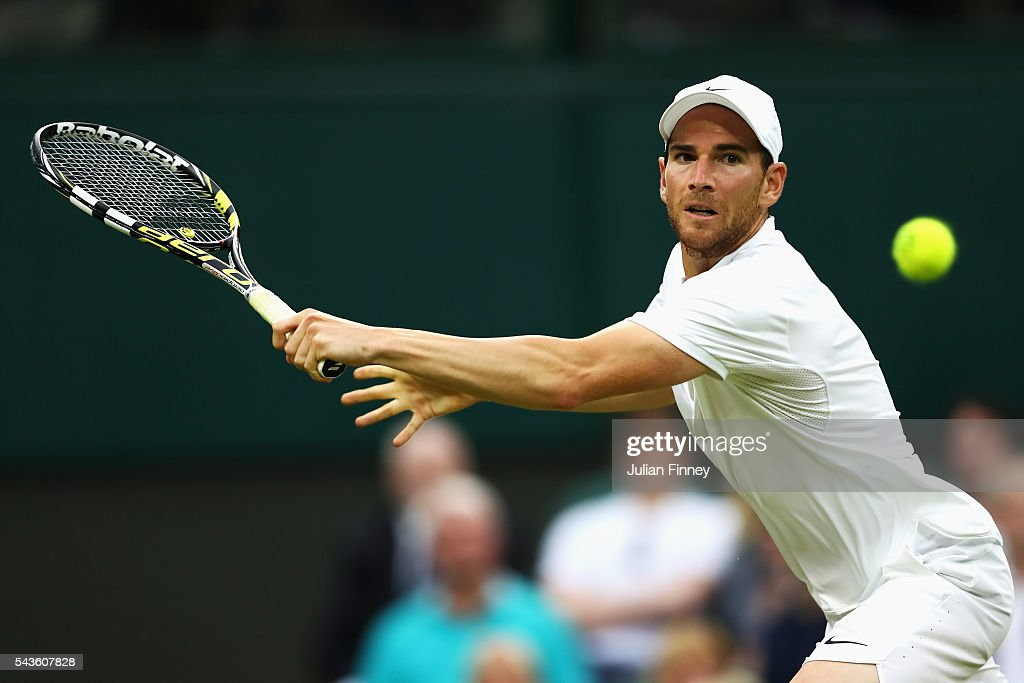 <a gi-track='captionPersonalityLinkClicked' href=/galleries/search?phrase=Adrian+Mannarino&family=editorial&specificpeople=5361274 ng-click='$event.stopPropagation()'>Adrian Mannarino</a> of France plays a backhand during the Men's Singles second round match against Novak Djokovic of Serbia on day three of the Wimbledon Lawn Tennis Championships at the All England Lawn Tennis and Croquet Club on June 29, 2016 in London, England.