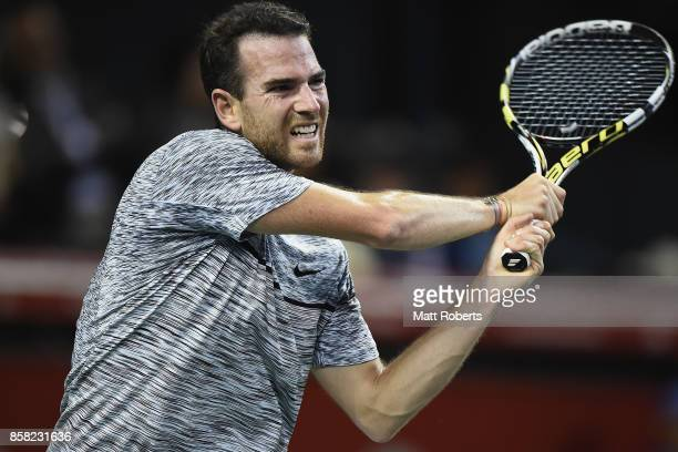 Adrian Mannarino of France plays a backhand in his quarterfinal match against Yuichi Sugita of Japan during day five of the Rakuten Open at Ariake...