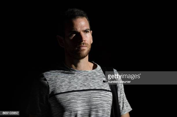 Adrian Mannarino of France reacts as he arrives for his men's single first round match against David Goffin of Belgium during day three of the Rolex...