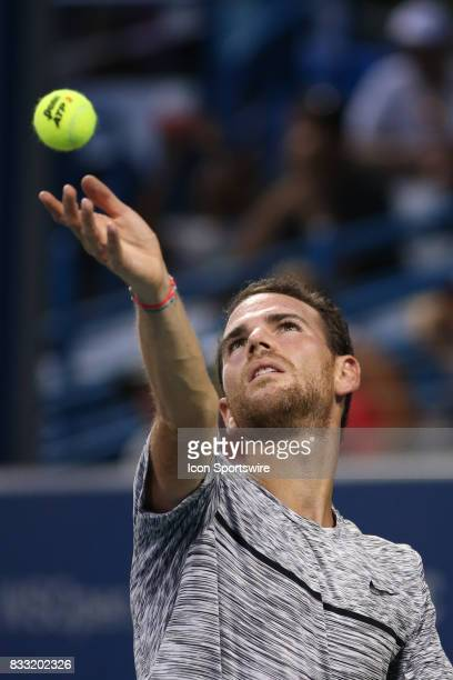 Adrian Mannarino of France serves during the Western Southern Open at the Lindner Family Tennis Center in Mason Ohio on August 16th 2017