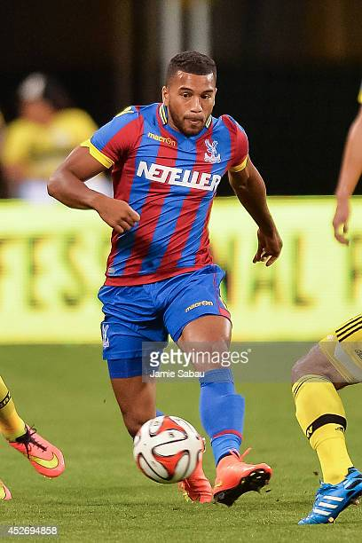 Adrian Mariappa of Crystal Palace FC controls the ball against the Columbus Crew in an international friendly match on July 23 2014 at Crew Stadium...