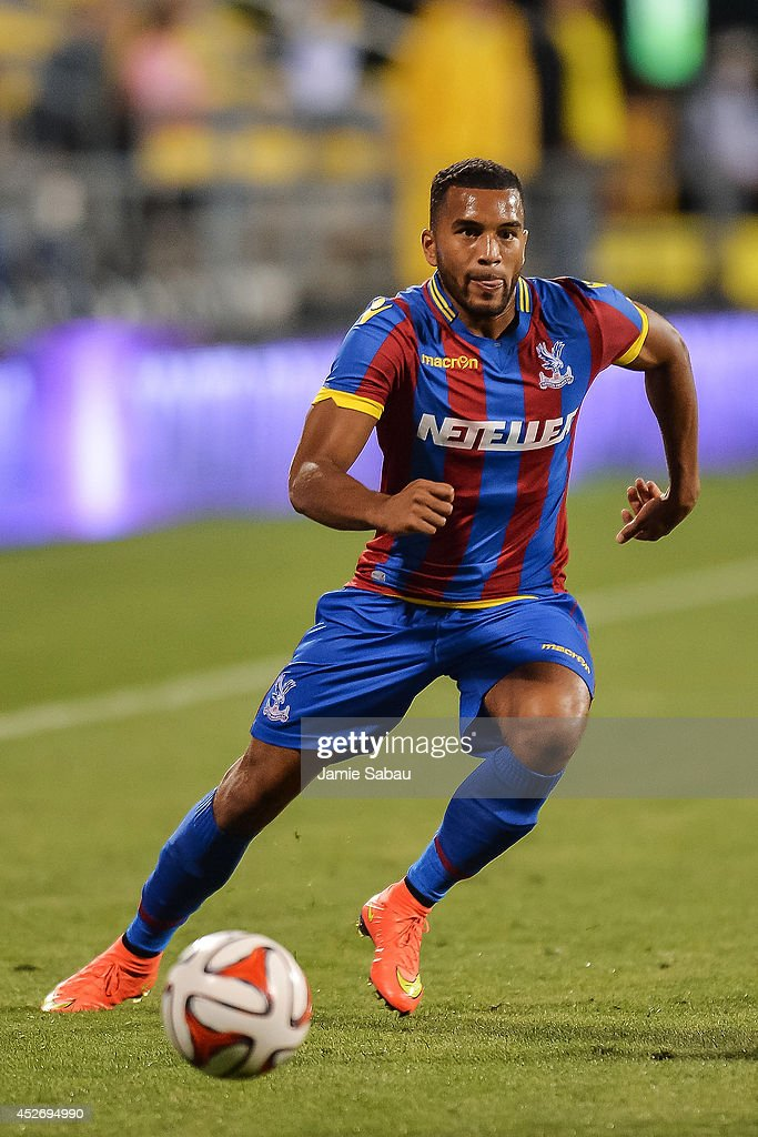 <a gi-track='captionPersonalityLinkClicked' href=/galleries/search?phrase=Adrian+Mariappa&family=editorial&specificpeople=661604 ng-click='$event.stopPropagation()'>Adrian Mariappa</a> #3 of Crystal Palace FC controls the ball against the Columbus Crew in an international friendly match on July 23, 2014 at Crew Stadium in Columbus, Ohio.