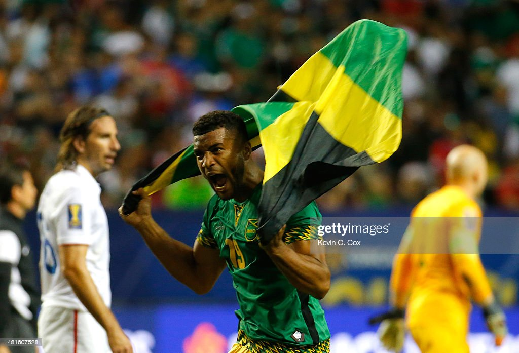<a gi-track='captionPersonalityLinkClicked' href=/galleries/search?phrase=Adrian+Mariappa&family=editorial&specificpeople=661604 ng-click='$event.stopPropagation()'>Adrian Mariappa</a> #19 of Jamaica celebrates their 2-1 win over the United States of America during the 2015 CONCACAF Golf Cup Semifinal match between Jamaica and the United States at Georgia Dome on July 22, 2015 in Atlanta, Georgia.