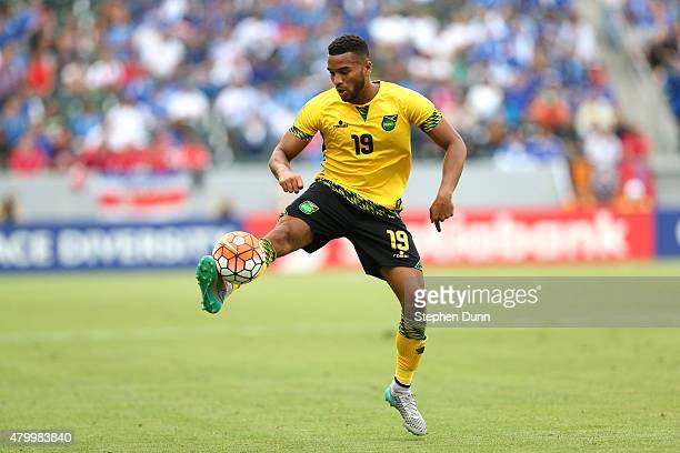 Adrian Mariappa of Jamaica controls the ball against Costa Rica in their CONCACAF Gold Cup Group B match at StubHub Center on July 8 2015 in Los...