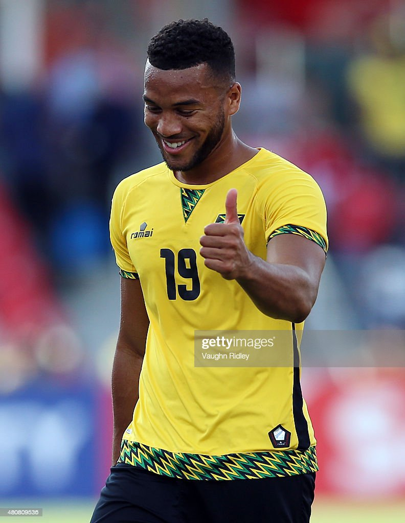 <a gi-track='captionPersonalityLinkClicked' href=/galleries/search?phrase=Adrian+Mariappa&family=editorial&specificpeople=661604 ng-click='$event.stopPropagation()'>Adrian Mariappa</a> #19 of Jamaica during the 2015 CONCACAF Gold Cup Group B match between Jamaica and El Salvador at BMO Field on July 14, 2015 in Toronto, Ontario, Canada.