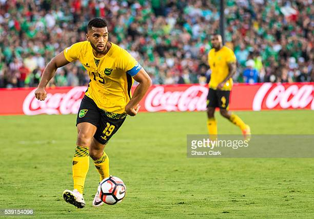 Adrian Mariappa of Jamaica races toward goal during the Copa America Centenario Group C match between Mexico and Jamaica at the Rose Bowl on June 9...