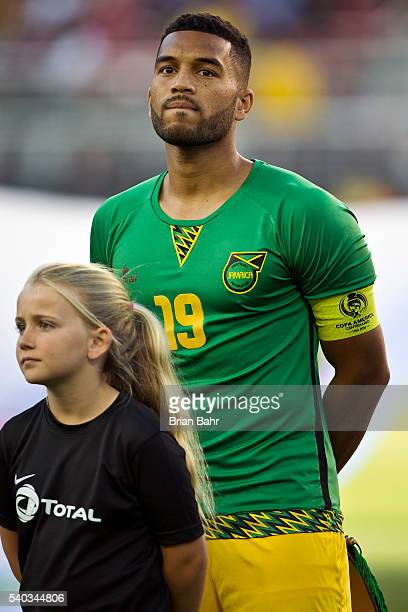 Adrian Mariappa of Jamaica stands for the national anthem before a group C match between Uruguay and Jamaica at Levi's Stadium as part of Copa...