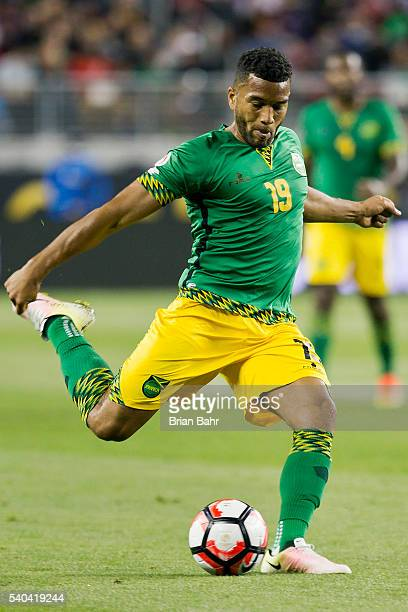 Adrian Mariappa of Jamaica takes a shot during a group C match at Levi's Stadium as part of Copa America Centenario US 2016 on June 13 2016 in Santa...