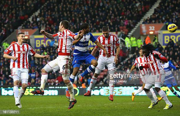 Adrian Mariappa of Reading scores his team's first goal during the Barclays Premier League match between Stoke City and Reading at the Britannia...