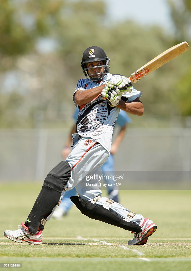 Adrian McAdam of the Northern Territory bats against New South Wales during day 2 of the National Indigenous Cricket Championships on February 9, 2016 in Alice Springs, Australia.