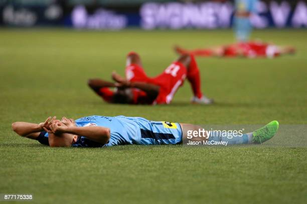 Adrian Mierzejewski of Sydney at fulltime during the FFA Cup Final match between Sydney FC and Adelaide United at Allianz Stadium on November 21 2017...
