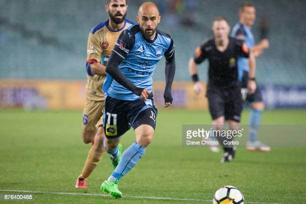 Adrian Mierzejewski of the Sydney FC in action during the round seven ALeague match between Sydney FC and Newcastle Jets at Allianz Stadium on...