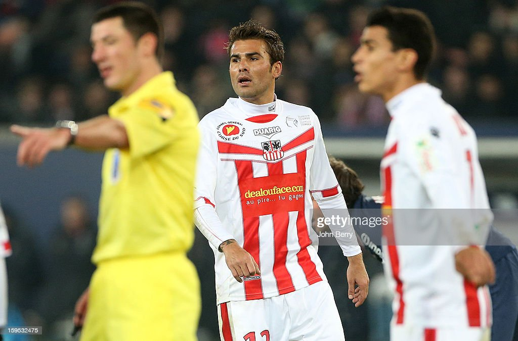 <a gi-track='captionPersonalityLinkClicked' href=/galleries/search?phrase=Adrian+Mutu&family=editorial&specificpeople=211247 ng-click='$event.stopPropagation()'>Adrian Mutu</a> of AC Ajaccio reacts during the French Ligue 1 match between Paris Saint Germain FC and AC Ajaccio at the Parc des Princes stadium on January 11, 2013 in Paris, France.