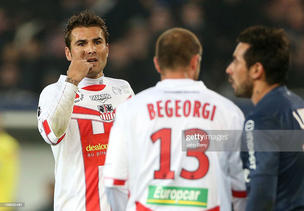 Adrian Mutu of AC Ajaccio reacts during the French Ligue 1 match between Paris Saint Germain FC and AC Ajaccio at the Parc des Princes stadium on January 11, 2013 in Paris, France.