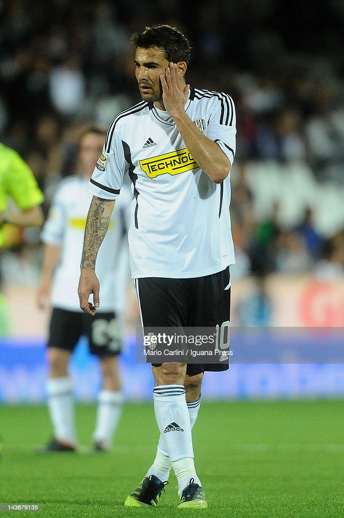 <a gi-track='captionPersonalityLinkClicked' href=/galleries/search?phrase=Adrian+Mutu&family=editorial&specificpeople=211247 ng-click='$event.stopPropagation()'>Adrian Mutu</a> of AC Cesena reacts during the Serie A match between AC Cesena and Udinese Calcio at Dino Manuzzi Stadium on May 2, 2012 in Cesena, Italy.
