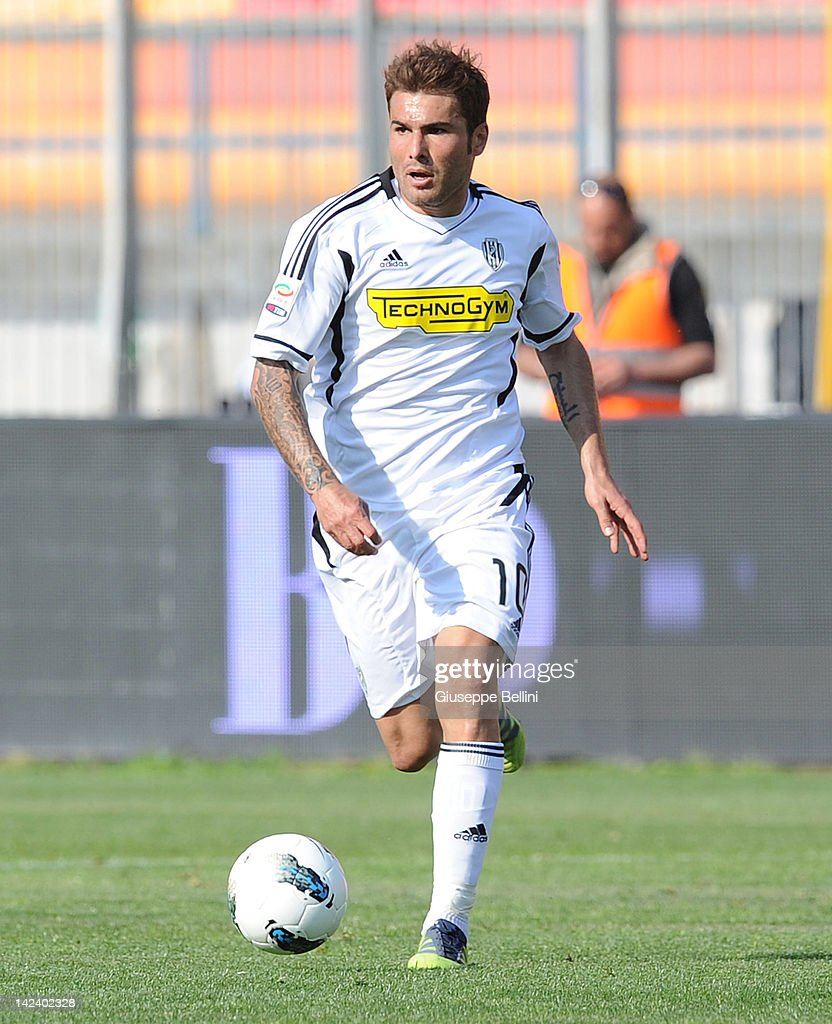 <a gi-track='captionPersonalityLinkClicked' href=/galleries/search?phrase=Adrian+Mutu&family=editorial&specificpeople=211247 ng-click='$event.stopPropagation()'>Adrian Mutu</a> of Cesena in action during the Serie A match between US Lecce and AC Cesena at Stadio Via del Mare on April 1, 2012 in Lecce, Italy.