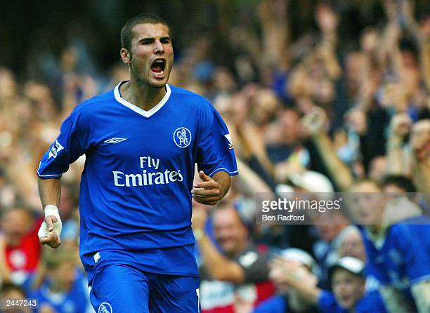 Adrian Mutu of Chelsea starts to celebrate scoring a goal that was later disallowed during the FA Barclaycard Premiership match between Chelsea and...