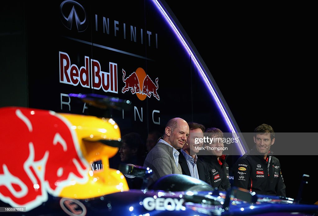 Adrian Newey, Chief Technical Officer, Christian Horner, Team Principle, Mark Webber of Australia, and Sebastian Vettel of Germany talk to the guests during the Infiniti Red Bull Racing RB9 launch on February 3, 2013 in Milton Keynes, England.