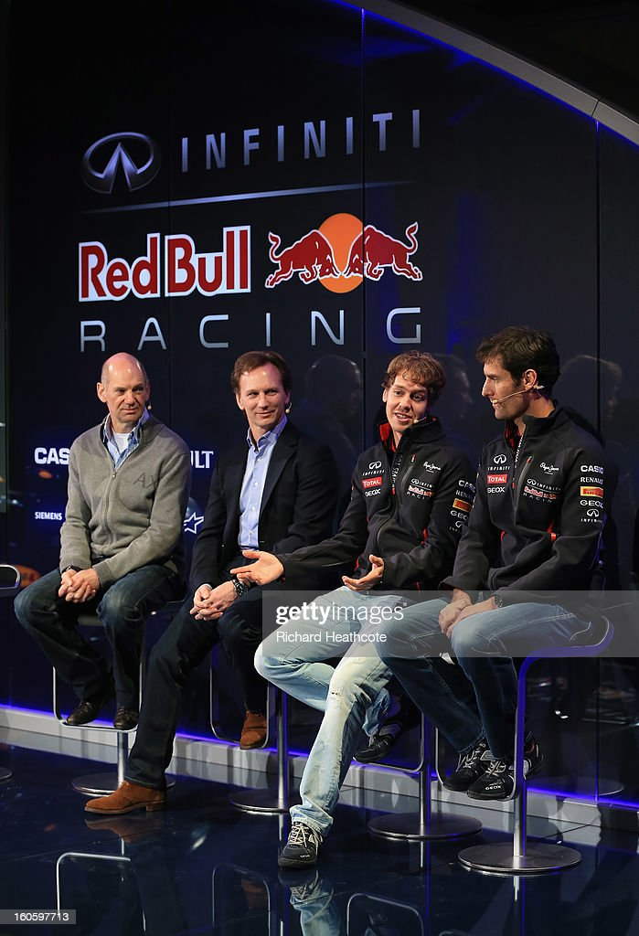 Adrian Newey, Chief Technical Officer, Christian Horner, Team Principle, Sebastian Vettel of Germany and Mark Webber of Australia talk to the guests during the Infiniti Red Bull Racing RB9 launch on February 3, 2013 in Milton Keynes, England.