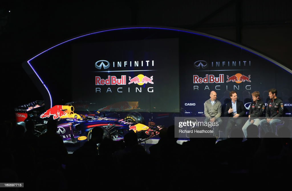 <a gi-track='captionPersonalityLinkClicked' href=/galleries/search?phrase=Adrian+Newey&family=editorial&specificpeople=215410 ng-click='$event.stopPropagation()'>Adrian Newey</a>, Chief Technical Officer, <a gi-track='captionPersonalityLinkClicked' href=/galleries/search?phrase=Christian+Horner&family=editorial&specificpeople=228706 ng-click='$event.stopPropagation()'>Christian Horner</a>, Team Principle, <a gi-track='captionPersonalityLinkClicked' href=/galleries/search?phrase=Sebastian+Vettel&family=editorial&specificpeople=2233605 ng-click='$event.stopPropagation()'>Sebastian Vettel</a> of Germany and <a gi-track='captionPersonalityLinkClicked' href=/galleries/search?phrase=Mark+Webber+-+Coureur+automobile&family=editorial&specificpeople=167271 ng-click='$event.stopPropagation()'>Mark Webber</a> of Australia talk to the guests during the Infiniti Red Bull Racing RB9 launch on February 3, 2013 in Milton Keynes, England.