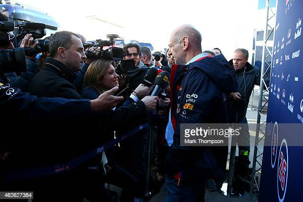Adrian Newey the Chief Technical Officer of Infiniti Red Bull Racing speaks to members of the media at a press conference during day one of Formula...