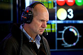 Adrian Newey the Chief Technical Officer of Infiniti Red Bull Racing works in the garage during day three of Formula One Winter Testing at Circuito...