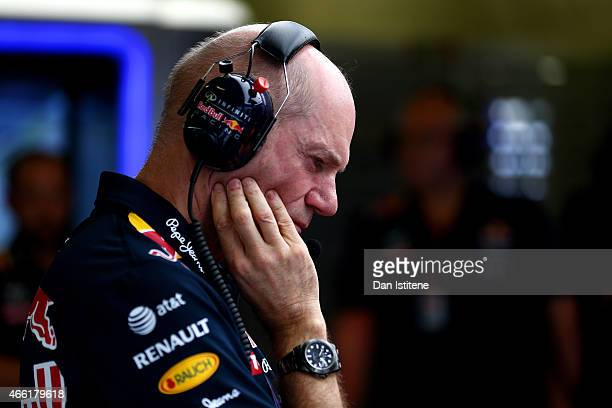 Adrian Newey the Chief Technical Officer of Infiniti Red Bull Racing looks on in the garage during final practice for the Australian Formula One...