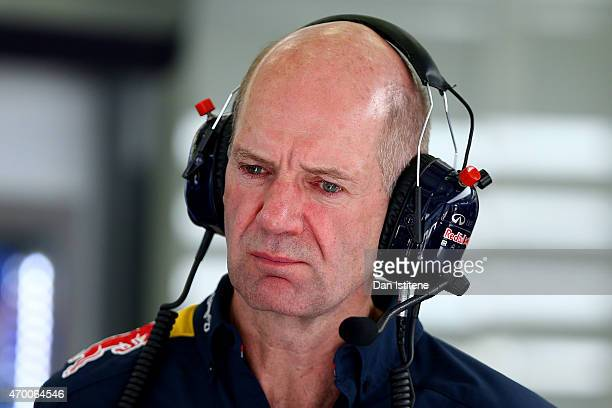 Adrian Newey the Chief Technical Officer of Infiniti Red Bull Racing looks on in the garage during practice for the Bahrain Formula One Grand Prix at...