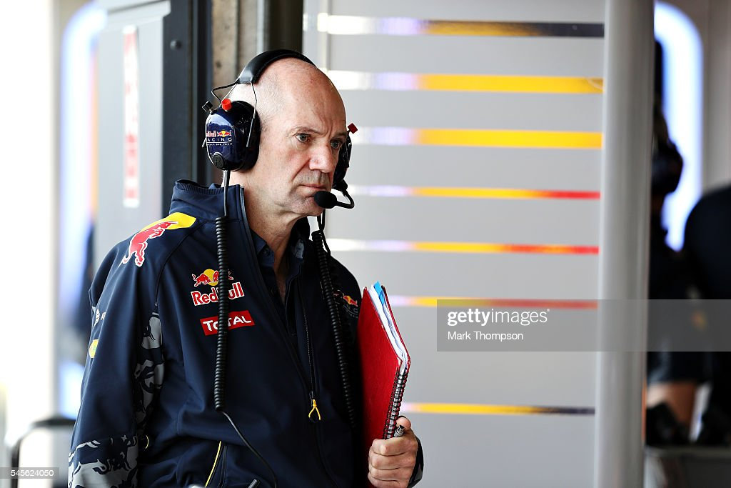 Adrian Newey the Chief Technical Officer of Red Bull Racing in the Red Bull Racing garage during final practice for the Formula One Grand Prix of...