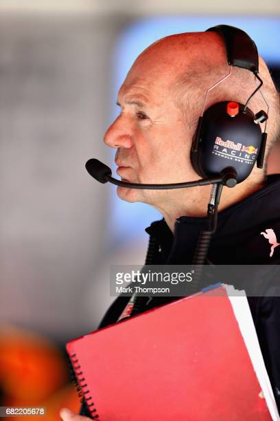 Adrian Newey the Chief Technical Officer of Red Bull Racing in the garage during practice for the Spanish Formula One Grand Prix at Circuit de...