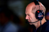 Adrian Newey the Infiniti Red Bull Racing Chief Technical Officer works in the garage during final practice ahead of the Hungarian Formula One Grand...