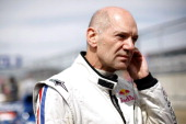 Adrian Newey the Infiniti Red Bull Racing Chief Technical Officer prepares to take part in a parade to mark the Silverstone 50th Anniversary before...
