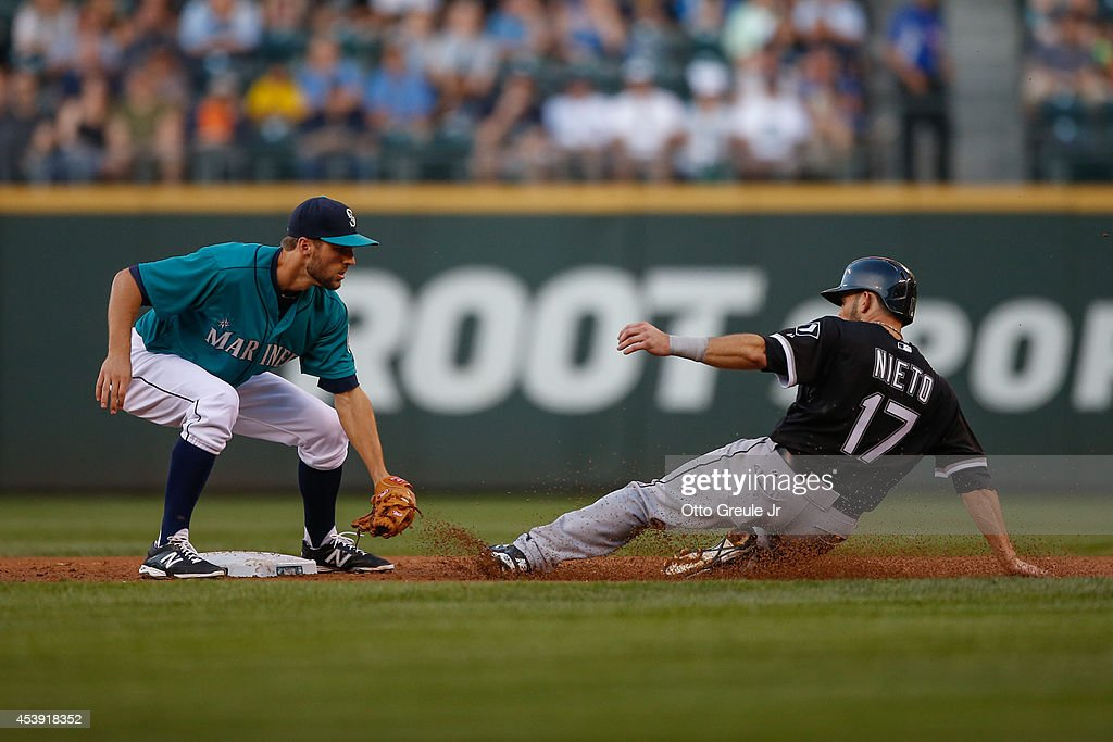 Adrian Nieto #17 of the Chicago White Sox is tagged out on a steal attempt by shortstop <a gi-track='captionPersonalityLinkClicked' href=/galleries/search?phrase=Chris+Taylor+-+Baseball+Player&family=editorial&specificpeople=13511734 ng-click='$event.stopPropagation()'>Chris Taylor</a> #1 of the Seattle Mariners in the third inning at Safeco Field on August 8, 2014 in Seattle, Washington.