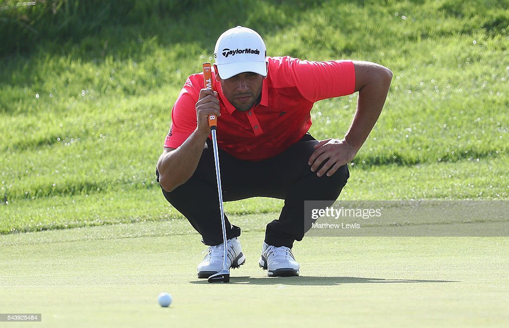 Adrian Otaegui of Spain lines up a putt during day one of the 100th Open de France at Le Golf National on June 30, 2016 in Paris, France.
