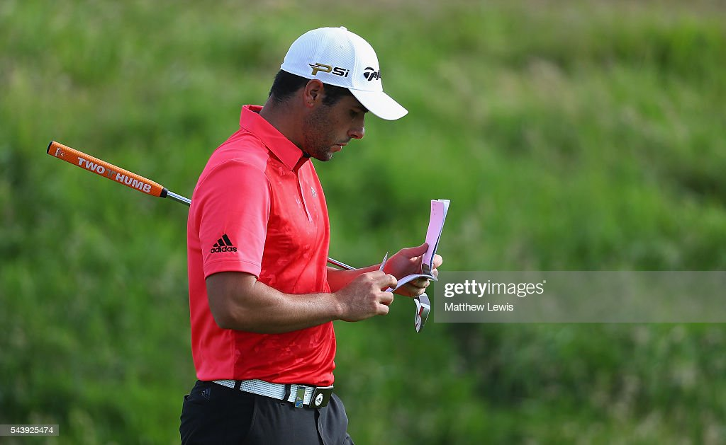 Adrian Otaegui of Spain looks on during day one of the 100th Open de France at Le Golf National on June 30, 2016 in Paris, France.