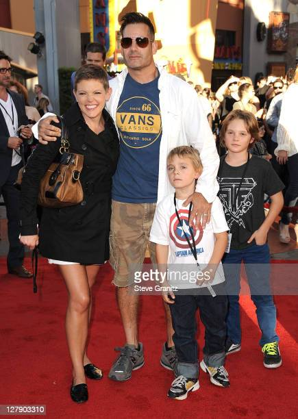 Adrian Pasdar Natalie Maines and Family attends the 'Real Steel' Los Angeles Premiere at Gibson Amphitheatre on October 2 2011 in Universal City...
