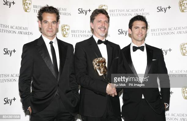 Adrian Pasdar Tim Kring and Milo Ventimiglia with the Best International Programme award received for Heroes at the British Academy Television Awards...