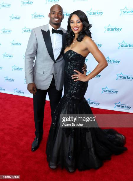 Adrian Peterson and Ashley Brown walk the red carpet at the 2017 Starkey Hearing Foundation So the World May Hear Awards Gala at the Saint Paul...