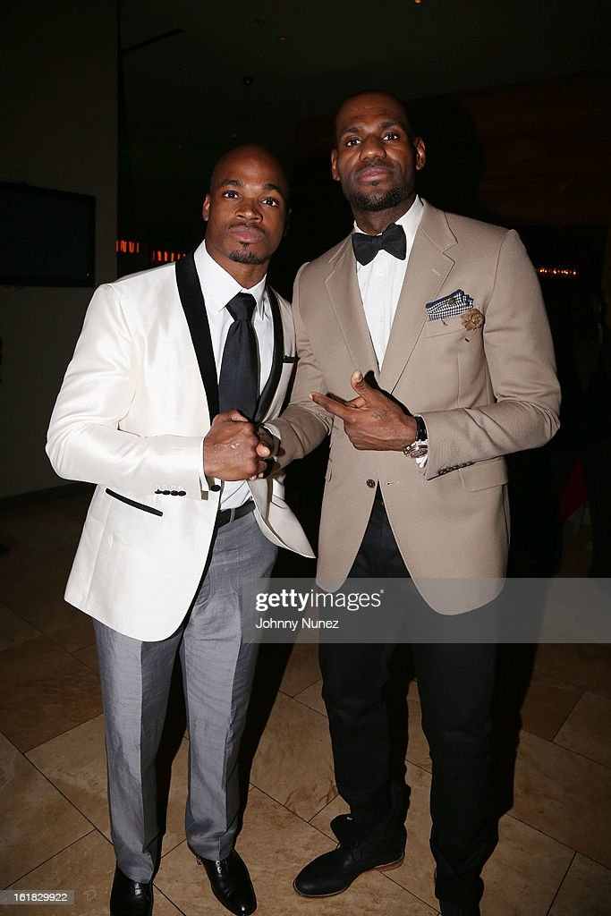 Adrian Peterson and LeBron James attend The Two Kings Dinner presented by Sprite at RDG + Bar Annie on February 16, 2013 in Houston, Texas.