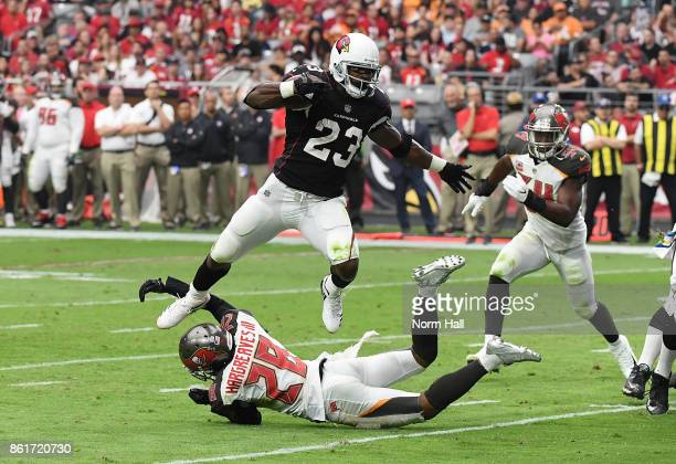Adrian Peterson of the Arizona Cardinals leaps over a tackle by Vernon Hargreaves III of the Tampa Bay Buccaneers during the second quarter at...