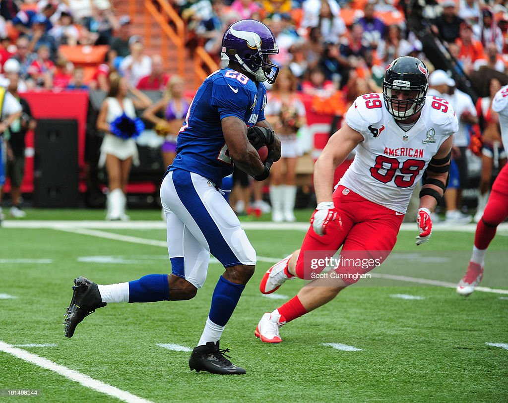 Adrian Peterson #28 of the Minnesota Vikings and the NFC carries the ball during the 2013 Pro Bowl against the American Football Conference team at Aloha Stadium on January 27, 2013 in Honolulu, Hawaii