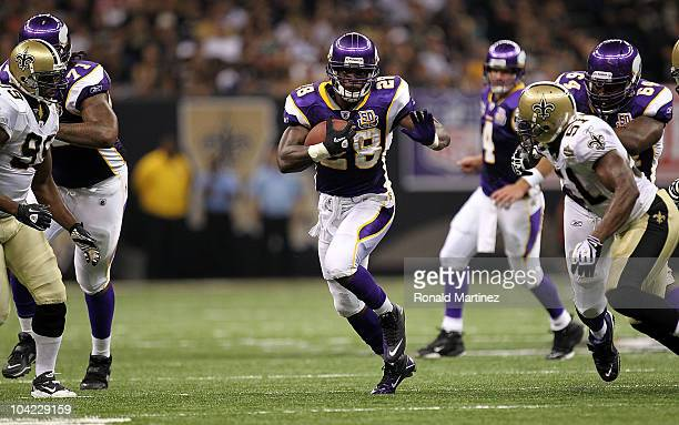 Adrian Peterson of the Minnesota Vikings at Louisiana Superdome on September 9 2010 in New Orleans Louisiana