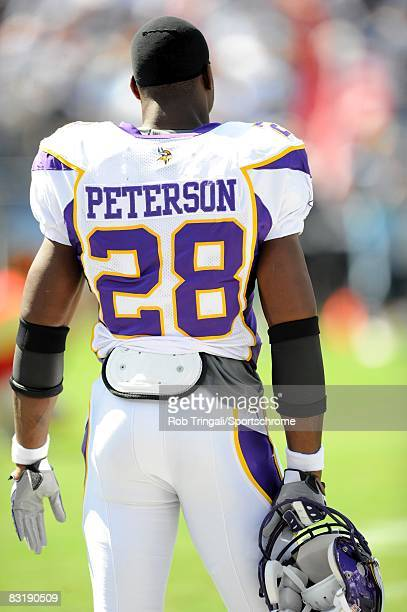Adrian Peterson of the Minnesota Vikings looks on from the sidelines against the Tennessee Titans on September 28 2008 at LP Stadium in Nashville...