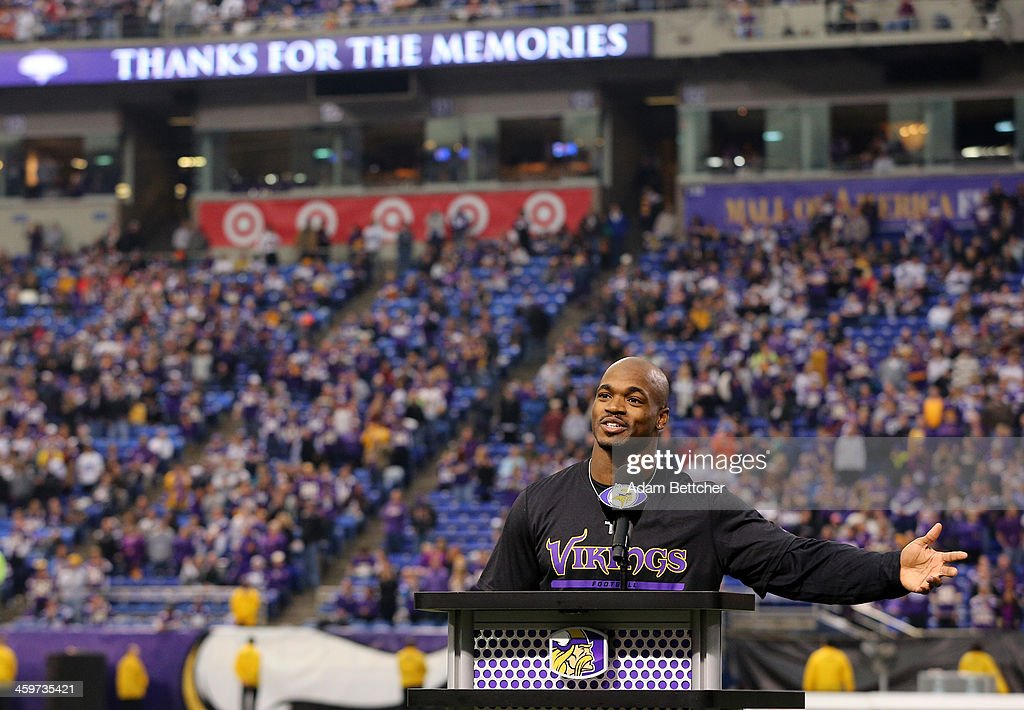 Adrian Peterson #28 of the Minnesota Vikings speaks to the crowd after the last game at the Metrodome against the Detroit Lions on December 29, 2013 at Mall of America Field at the Hubert H. Humphrey Metrodome in Minneapolis, Minnesota.