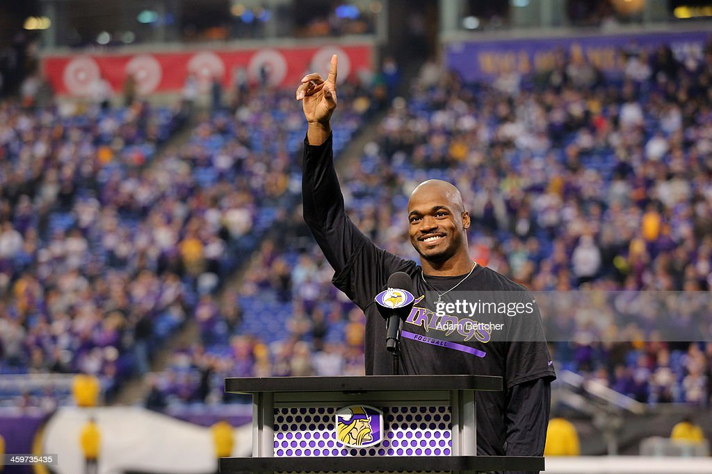 <a gi-track='captionPersonalityLinkClicked' href=/galleries/search?phrase=Adrian+Peterson+-+American+Football+Player+-+Minnesota+Vikings&family=editorial&specificpeople=210807 ng-click='$event.stopPropagation()'>Adrian Peterson</a> #28 of the Minnesota Vikings speaks to the crowd after the last game at the Metrodome against the Detroit Lions on December 29, 2013 at Mall of America Field at the Hubert H. Humphrey Metrodome in Minneapolis, Minnesota.