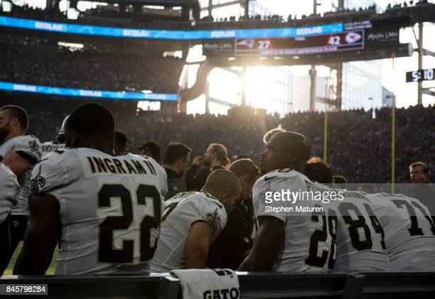 Adrian Peterson of the New Orleans Saints sits on the bench during the first quarter of the game against the Minnesota Vikings on September 11 2017...
