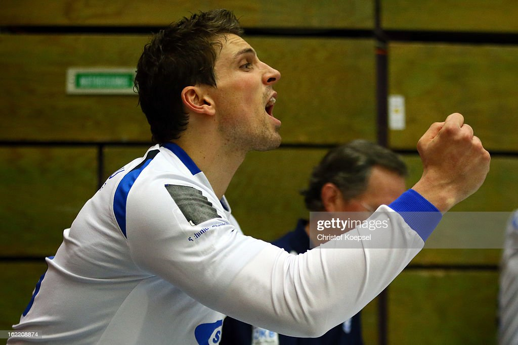Adrian Pfahl of Gummersbach celebrates a goal during the DKB Handball Bundesliga match between VfL Gummersbach and FrischAuf Goeppingen at Eugen-Haas-Sporthalle on February 20, 2013 in Gummersbach, Germany.