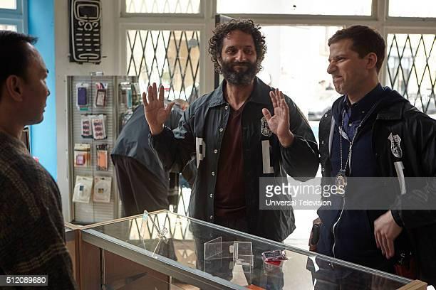 NINE 'Adrian Pimento' Episode 317 Pictured Jason Mantzoukas as Adrian Pimento Andy Samberg as Jake Peralta